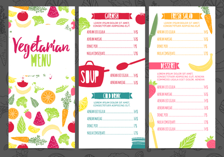 Illustration for Set collection design template vertical vegetarian menu. Corporate identity menu for cafe or restaurant. Brochure with decor fruit and vegetable. Layout vegetarian menu with pattern healthy food - Royalty Free Image