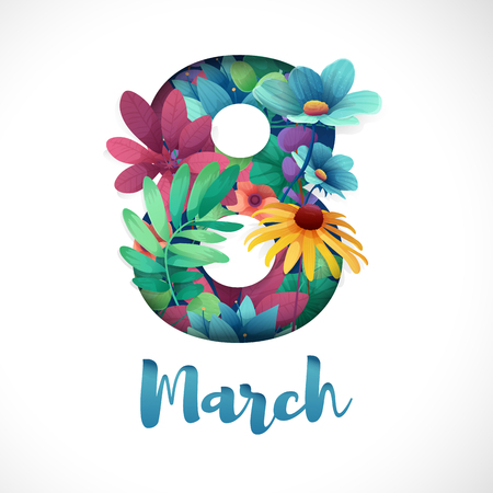 Illustration pour Banner for the International Womens Day. Flyer for March 8 with the decor of flowers. Invitations with the number 8 in the style of cut paper with a pattern of spring plants, leaves and flowers. - image libre de droit