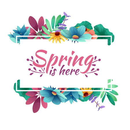 Illustration pour Design banner with  spring is here logo. Card for spring season with white frame and herb. Promotion offer with spring plants, leaves and flowers decoration.  Vector - image libre de droit