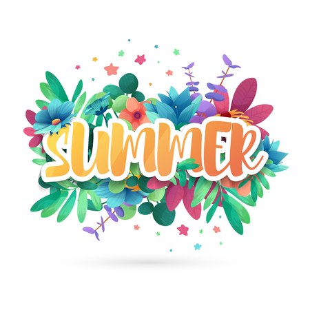 Illustration pour Design symbol for summep. Banner with flower logo and leaf for summer promotion and sale. Nature floral decoration layout template. Vector - image libre de droit