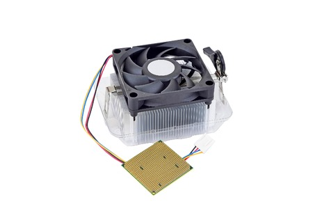 Computer processor (CPU) with radiator and fan, isolated on white background