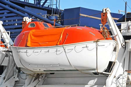 Safety lifeboat on deck of a passenger ship