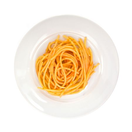 A plate of spaghetti pasta with tomato sauce seen from above; isolated on white background