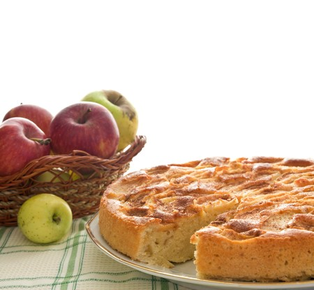 Homemade apple pie isolated on white