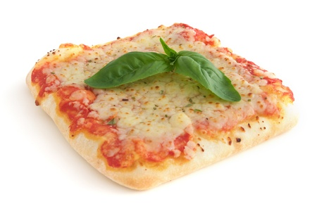 Small square piece of pizza - isolated on white background