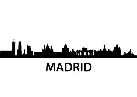 detailed vector skyline of Madrid
