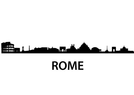 detailed vector skyline of Rome