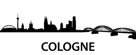 detailed silhouette of Cologne, Germany