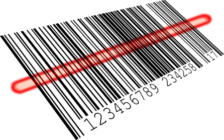 Illustration pour illustration of a barcode with a red scanning bar, eps8 vector - image libre de droit