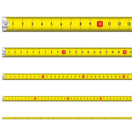 Illustration pour illustration of a yellow measure tape - image libre de droit