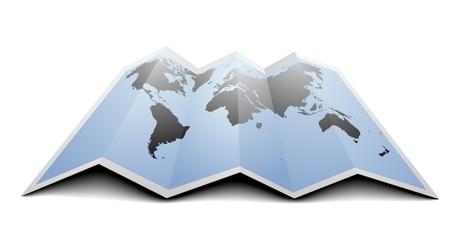 Illustration pour illustration of a world map on folded paper - image libre de droit