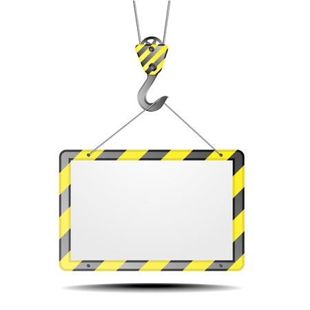 detailed illustration of a blank construction frame on a hook