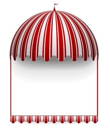 detailed illustration of a carnivals frame with a round circus awning on top