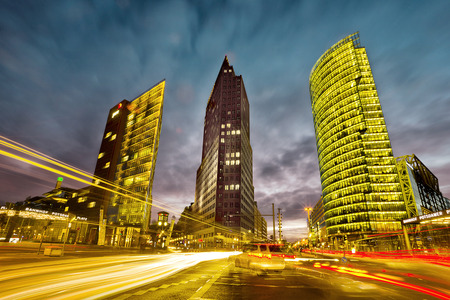 intersection in front of the Potsdamer Platz in the city center of Berlin, Germany
