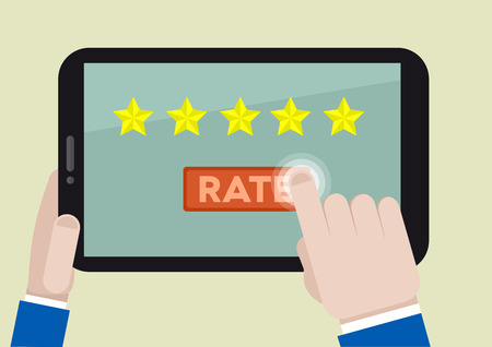 minimalistic illustration of hands holding a tablet computer with rating system and hand pushing the button