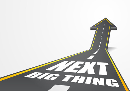 detailed illustration of a highway road going up as an arrow with Next Big Thing text