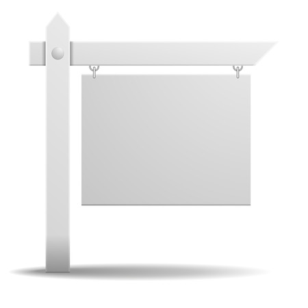 detailed illustration of a blank white real estate sign