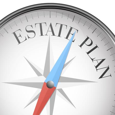 Foto de detailed illustration of a compass with estate plan text, vector - Imagen libre de derechos