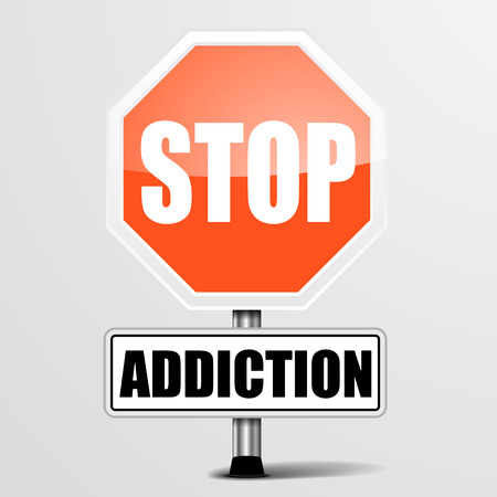detailed illustration of a red stop Addiction sign,  vector