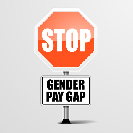 detailed illustration of a red stop Gender Pay Gap sign, vector
