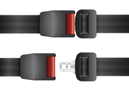 Illustration pour detailed illustration of an open and closed seatbelt - image libre de droit