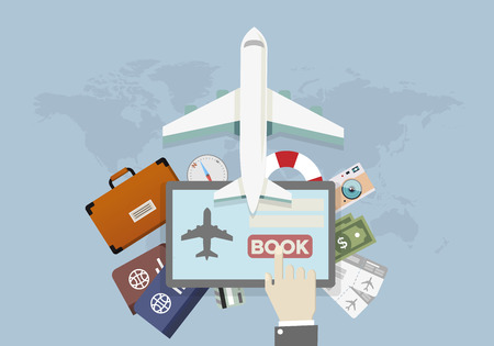 Illustration for illustration of a vacation and travel booking concept, hand over tablet presses book button, eps10 vector - Royalty Free Image