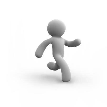 Vector white human running