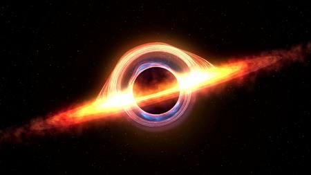 Photo pour Black hole attracting space matter. 3d rendering - image libre de droit