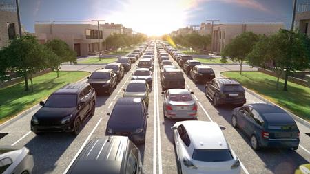 Photo pour Traffic jam, sunset time. 3d illustration. - image libre de droit