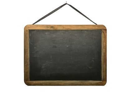 Old chalkboard hanging from nail isolated on white background.