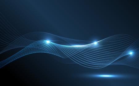 Illustration pour Abstract blue waves - data stream concept. Vector Illustration. Clip-art - image libre de droit