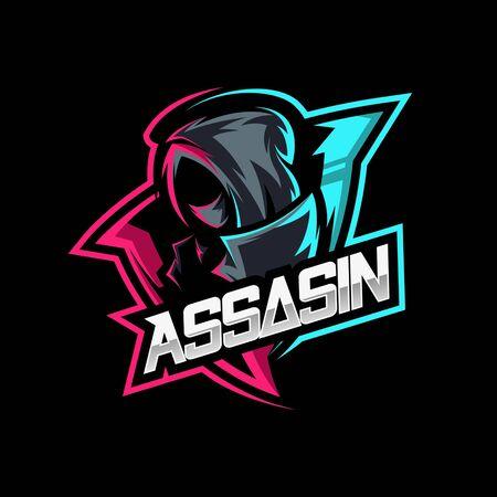 Illustration pour assassin ninja mascot gaming logo vector - image libre de droit