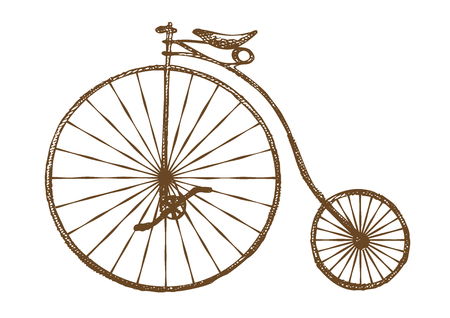 Illustration for Hand-drawn old fashioned bicycle, retro bike - Royalty Free Image