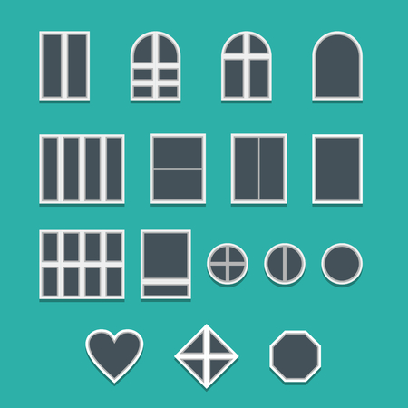 Collection of various modern windows, vector illustration