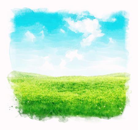 Photo pour Watercolor sky and grass background.  - image libre de droit