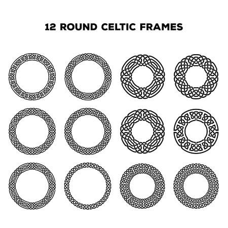 Illustration pour Collection of various round celtic frames, vector illustration - image libre de droit