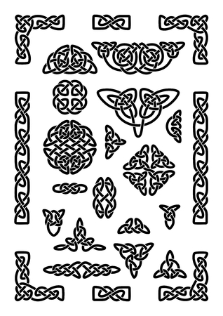 Collection of various celtic knots, celtic frame, vector illustration