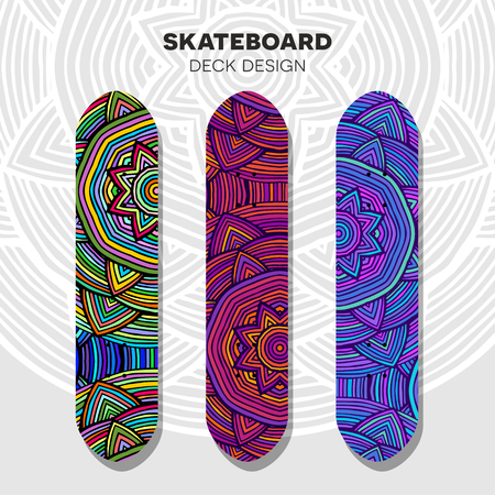 Three skateboard colorful designs in ethnic style