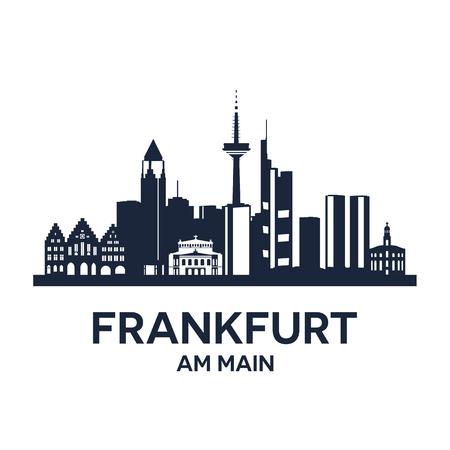 Illustration pour Abstract skyline of city Frankfurt am Main, illustration - image libre de droit