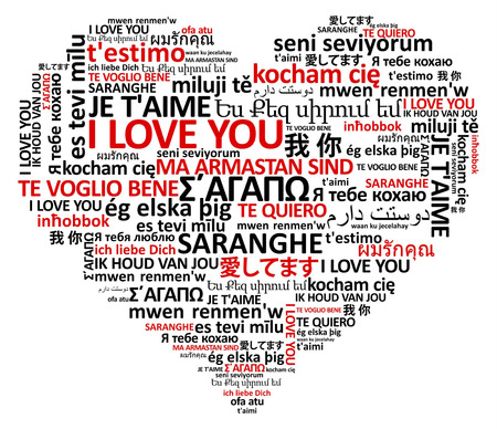 heart shape made of the world love in many languages