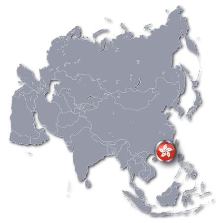 Asia map with Hong Kong