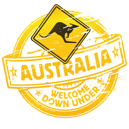 Rubber stamp Australia welcome down under