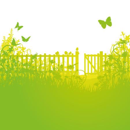 Illustration pour Garden fence and open gates - image libre de droit