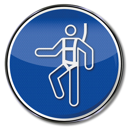 Mandatory sign use safety harness