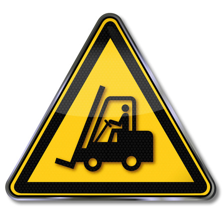 Danger sign warning for fork lift trucks and forklift