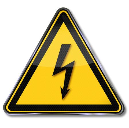 Danger sign warning of dangerous electrical voltage