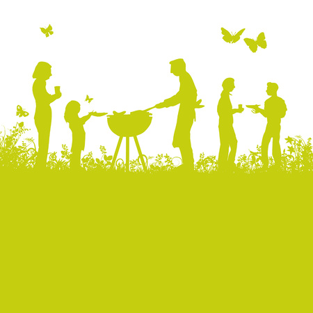 Ilustración de Grilling and barbecue int the garden - Imagen libre de derechos