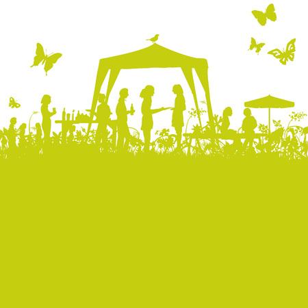 Illustration pour Garden party in the open garden - image libre de droit