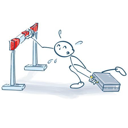 Stick figure against an excessive hurdle