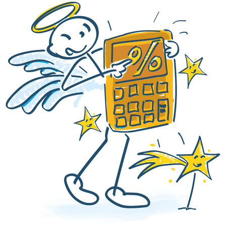 Stick figures as angels with calculator and percents